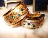 Christian Dior German Gold Tone and Rhinestone Clip Earrings