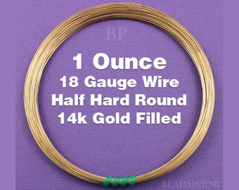 14K Gold Filled, 18 Gauge, Half Hard Round Wire, Wrapping Wire, 1 Full Ounce (Approx. 14 Feet ) GF-W18/HH