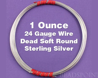 Sterling Silver .925 24 Gauge Dead Soft Round Wire on Coil, Wrapping Wire, 1 Full Ounce (Approx. 48 Feet ) SS-W24/DS