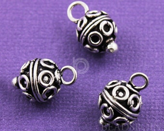 Bali Sterling Silver Circle Wirework Pattern 9mm Round Dangle Bead / Charm w/ Silver Ball at Bottom, Oxidized Finish, (2 Pieces) BA5631