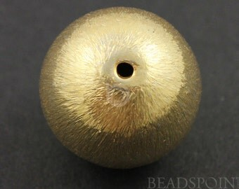 24K Gold Vermeil over Brush Sterling Silver Round Bead, 18mm Bright Finish, 1 Piece, Sold INDIVIDUALLY, buy as many you need,(VM-6200/18)