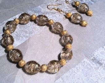 Gold Easter Egg Bracelet & Earrings Set Upcycled Vintage Beads Handmade Jewelry