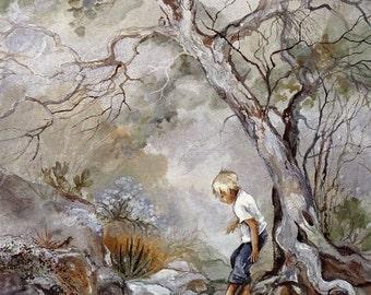 Earth Day Art Nature Lovers Kids Room Art Arizona Mountains Desert Oasis