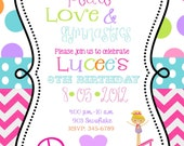 12 Peace Love Gymnastics  Birthday Party invitations with envelopes