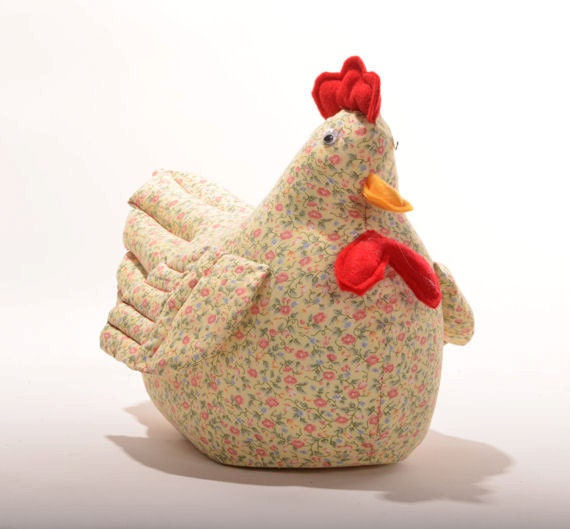 Yellow Calico Sewn Chicken Doorstop By Edwardsfarm On Etsy
