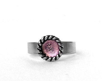 Silver and Light Pink Ring, Stainless Steel Jewelry for Women, Adjustable, Simple Modern