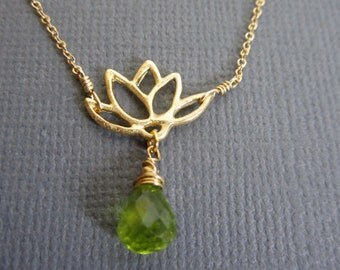 Lotus flower necklace, Purity, spiritual awakening and faithfulness, Gold Lotus Necklace, Lotus petal charm, Birthstone for May, Peridot