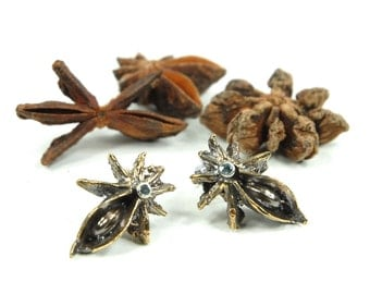 Star Anise Bronze Casted Pods with 2mm Blue Zircon Center Post Earrings