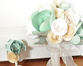 Bridal Bouquet Paper flower Bouquet  alternative bouquet Mint Green, Ivory white paper flowers