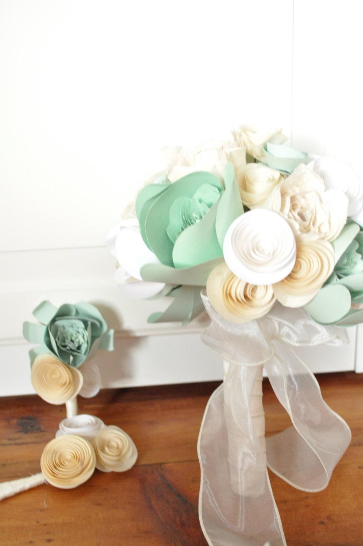 Bridal Bouquet Paper Flower Bouquet Alternative Bouquet Mint