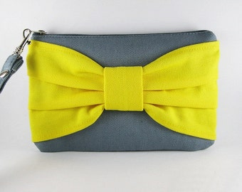 SUPER SALE - Gray with Yellow Bow Clutch - Bridal Clutches, Bridesmaid Wristlet, Wedding Gift, Cosmetic Bag, Zipper Pouch - Made To Order