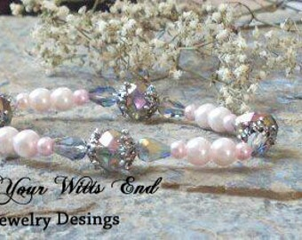 Pearl Stretchy Bracelet, pink, bracelet, irridescent, jewelry, bridal party, bride, women, victorian,