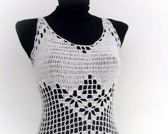 Beige Crochet tank top - Summer-Crochet Hippie Fringe Halter Top