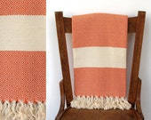 Super Soft Pure Cotton Bath Towel : DREAM WEAVER PESHTEMAL - Best quality hand-woven Turkish peshtemal, cotton blanket, orange cream striped