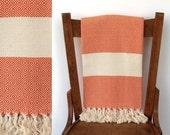 Super Soft Pure Cotton Bath Towel : DREAM WEAVER PESHTEMAL - Best quality hand-woven Turkish peshtemal, cotton blanket, orange cream striped