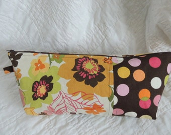 Large Brown Floral Polka Dot Origami Pouch