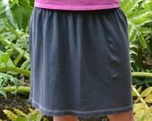 Womens Knee Length Knit Skirt // Blue-Grey