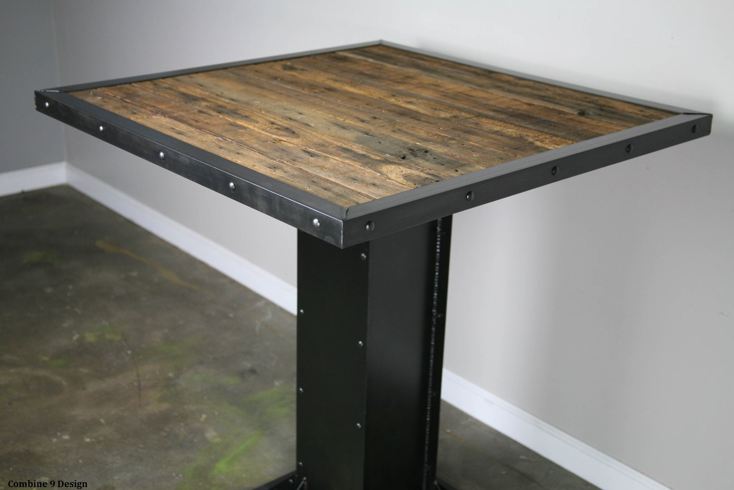 Bistro dining table modern industrial design reclaimed wood for Innovative table