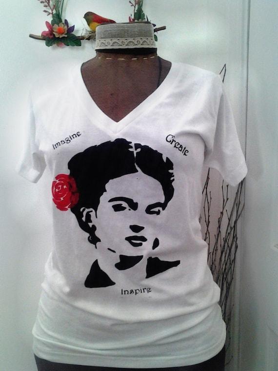 Frida Kahlo Hand Painted T Shirt