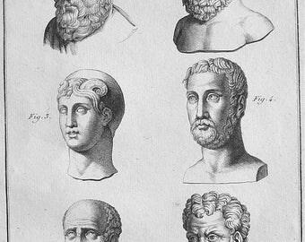 ASCLEPIUS, Philosopher Hermarchus, Mathematician Posidonius, General Lysimachus Figures Busts - 1804 Portrait Antique Print