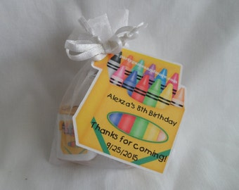 Unique Personalized Crayon Theme Birthday or Baby Shower Crayon Party Favor Gift Tags or Any Occassion