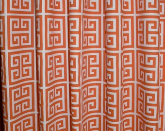 "CUSTOM CURTAINS - A pair of Custom Curtains Towers Shorbet Orange/Twill Greek 24"" wide X up to 96"" Long"