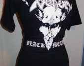 VENOM ladies black metal heavy metal boat neck 1/2 sleeve band shirt super flattering and feminine many sizes available DIY handmade shirt