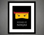 Ninja Art Print - 8x10 - Ninja art- kids wall decor - great for kids room or playroom