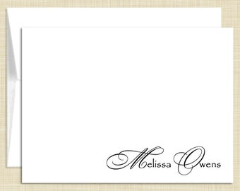 Personalized  Stationery - Personalized Stationary - Note Cards - set of 10  folded notecards - CLASSIC NAME