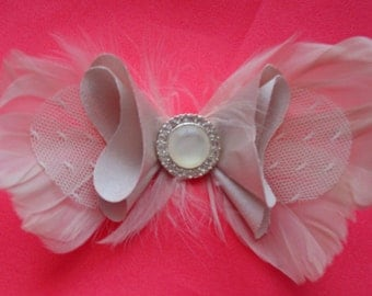 Feather Bowtie Bridal Hairpiece or Pin
