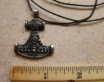 Thors Hammer Fine Pewter  Silver Antiqued Pendant