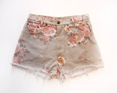 RESERVED Vintage Floral High Waist Cut Offs