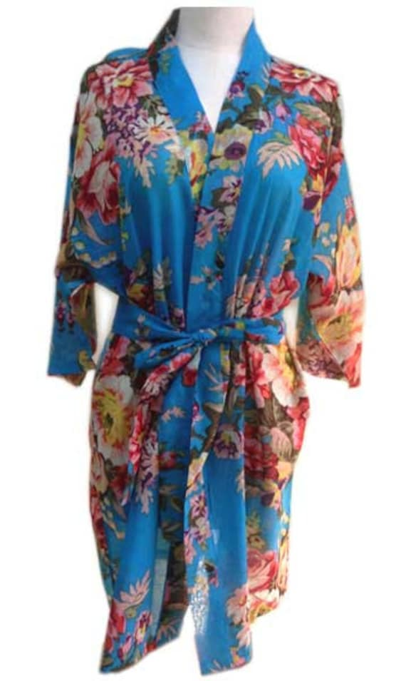 For the lovely Bride Personalized Kimono robe bridesmaids tiffany blue purple and white blooms maid of honor spa robe beach cover up