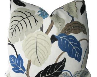 SALE SALE SALE, Decorative Designer,  Jacobean, Floral, Leaf, 18x18, 20x20, 22x22 or Lumbar, Taupe, Blue, Brown, Grey, Throw PIillow