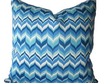 Decorative Designer Bargello Flame, Chevron, Jonathan Adler, Blue Pillow Cover, 18x18, 20x20, 22x22 or Lumbar, Throw Pillow