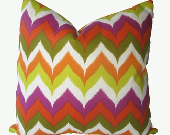 SALE SALE SALE,  Decorative Designer Outdoor Pillow Cover, Chevron, Flame Ikat, 18x18, 20x20, 22x22 or Lumbar Throw Pillow