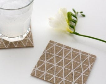 Triangle Patterned Coasters - Set of four - White Triangle Pattern on Latte Wool Felt