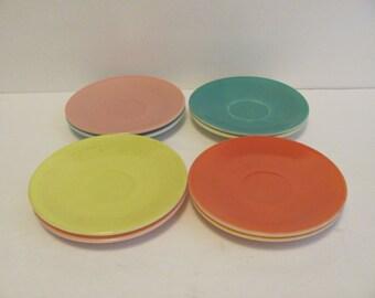 Vintage Hazel Atlas Saucers Ovide Platonite Pastels Set of 8