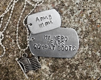 Custom Stamped Aluminum Metal Dog Tag Necklace