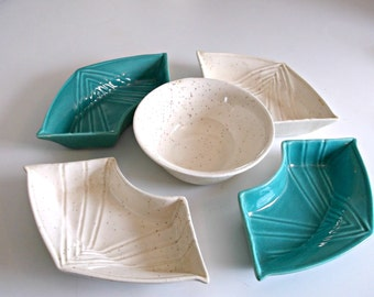 Chip and Dip bowls, Turquoise, Calif. pottery