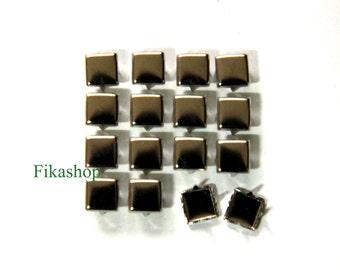 20% Off Clearance SALE: 7mm 100pcs Silver flat head square studs (4 legs) / HIGH Quality -  Fikashop