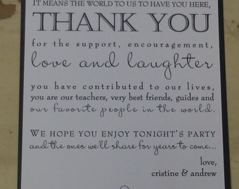 Double Layer Thank You with mixed fonts, custom wording - Wedding, Birthday, Christening, Bat Mitzvah, Anniversary