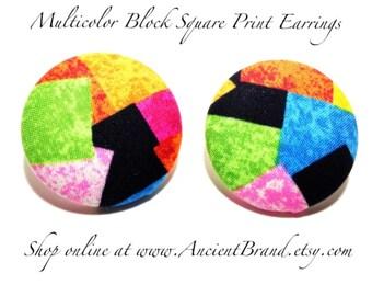 Oversized Multicolor Block Square Print Button Earrings