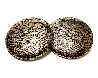 Extra Oversized Gold Metallic Print Button Earrings