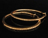 Diamonds IN and OUT & 18K Rose Pink Gold Large 1.35 Inch Diameter Hoop Earrings