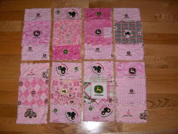 John deere pink fabric rag burp cloths set of two baby girl for Baby girl fabric