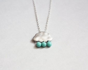 rainy days - tiny cloud and raindrops necklace / dainty, delicate jewelry, gift for her