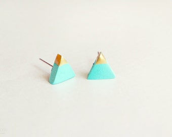 gold dipped triangle studs - mint green and gold - minimalist geometric earrings / gift for her