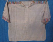 Vintage Traditional Mexican Shirt for a Man in Brown and White Gingham