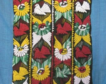 Black Vintage Huipil with Elaborate Colorful Embroidered Designs from Oaxaca
